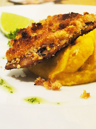 peixe com purê de abóbora